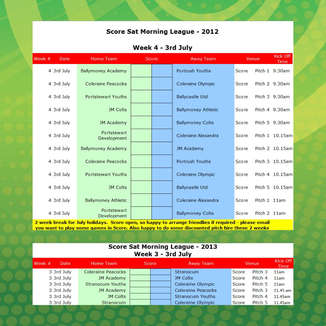 Score FC Saturday Youth League